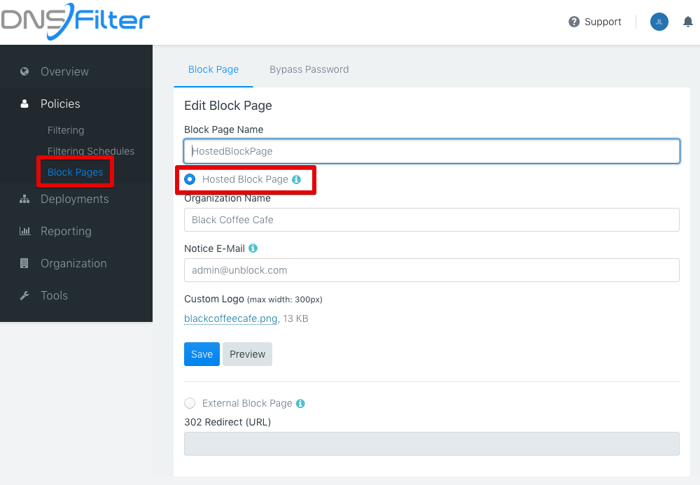 """Set """"Hosted Block Page"""""""
