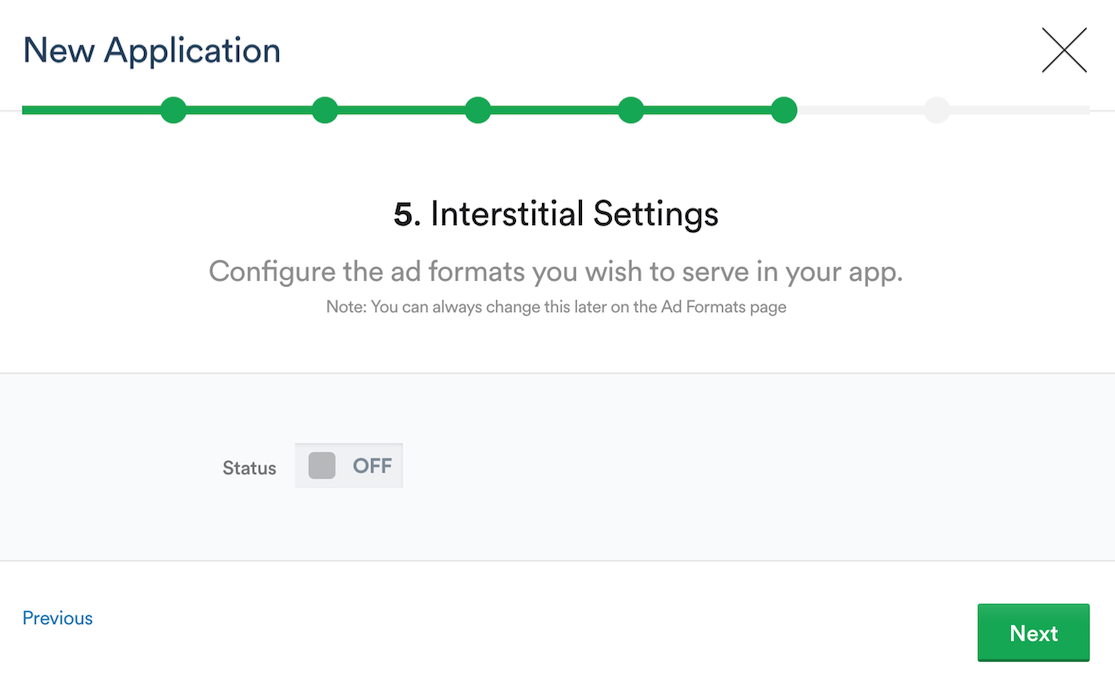 Setting up Interstitial Settings