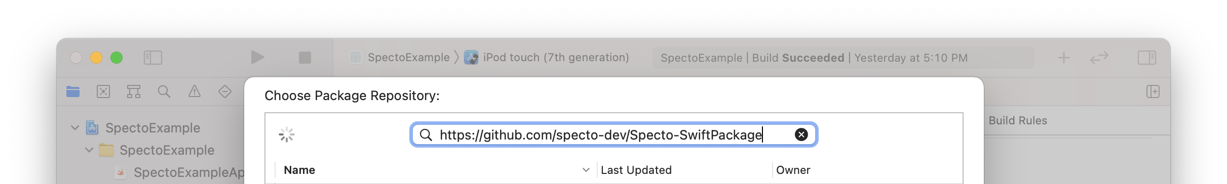 Entering the Specto Swift package URL in Xcode (step 2)