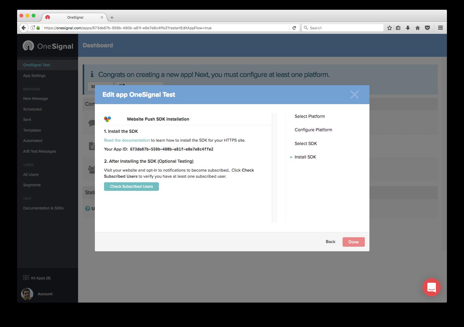 pantalla para Verificar usuarios suscritos en OneSignal