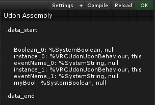 The status box shows 'OK' and we can see the Variables declared at the top of this Assembly.