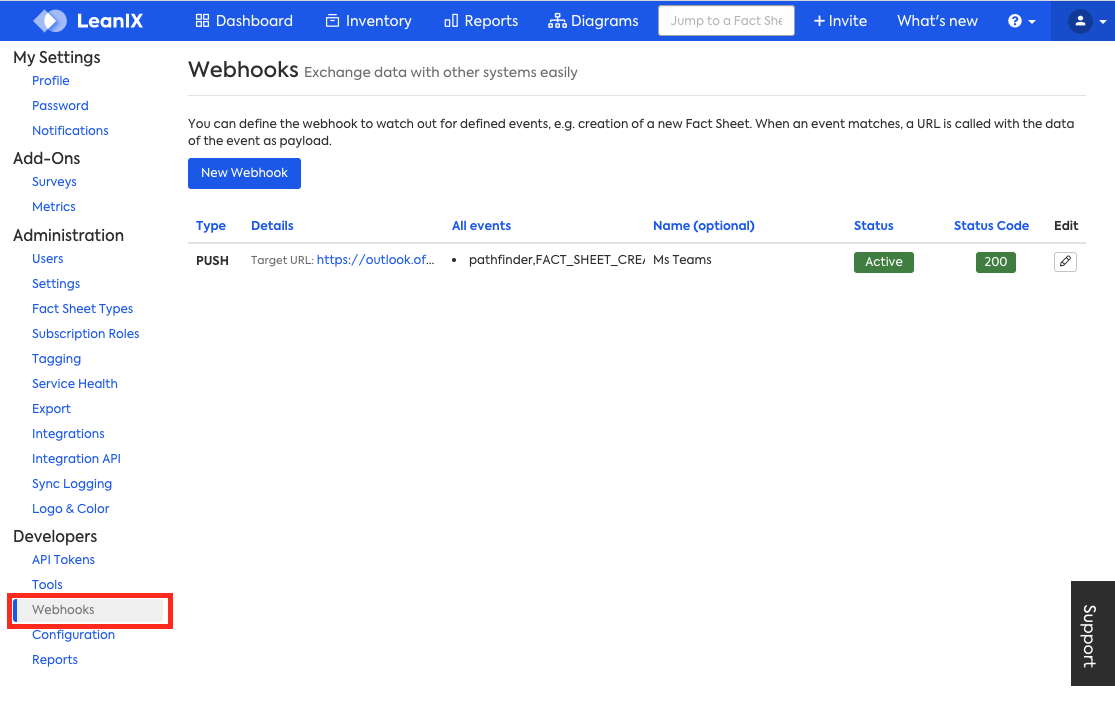 Webhooks built-in tool available in the Administrative area