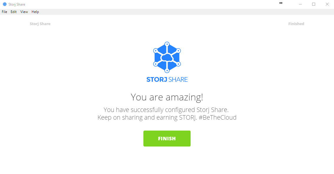 *Figure 3.14. Success message after successfully configuring your Storj Share drive/node.*