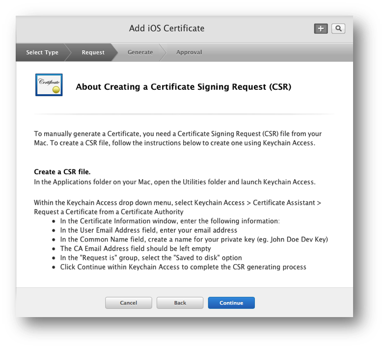 The Apple Push Notification service SSL Certificate Assistant screen