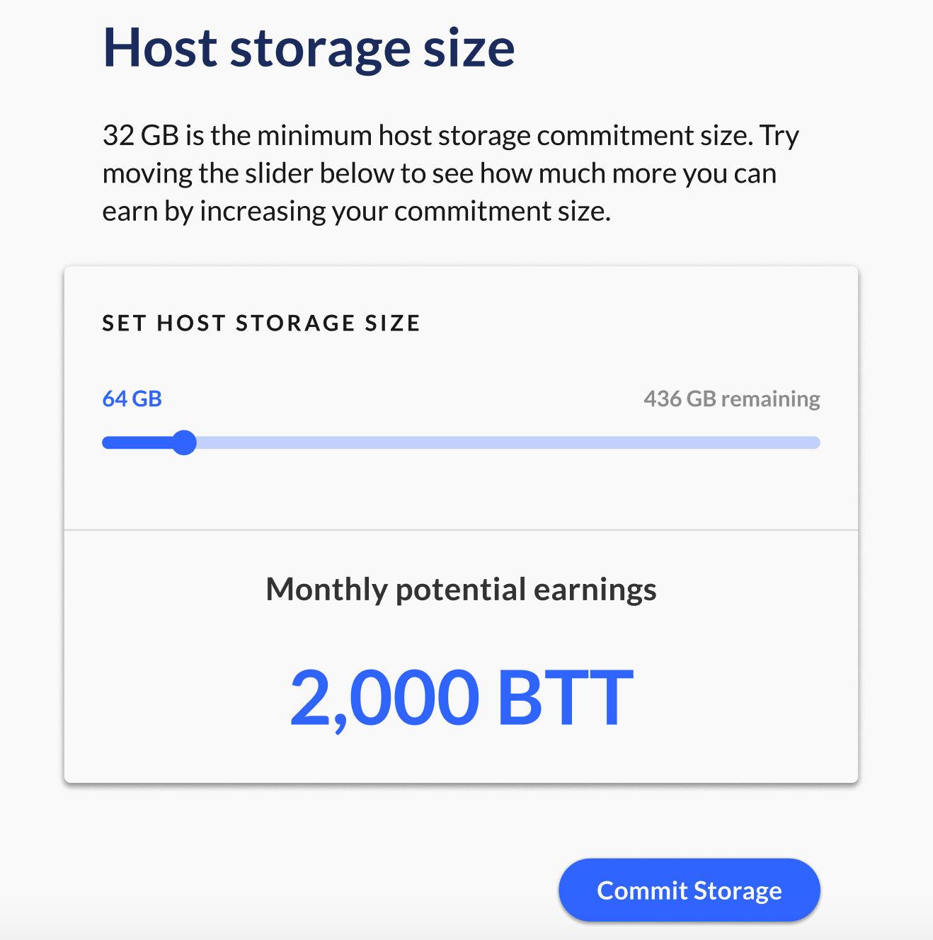 Upon launching the Host Dashboard, you will be greeted with a prompt to select your dedicated host storage space.