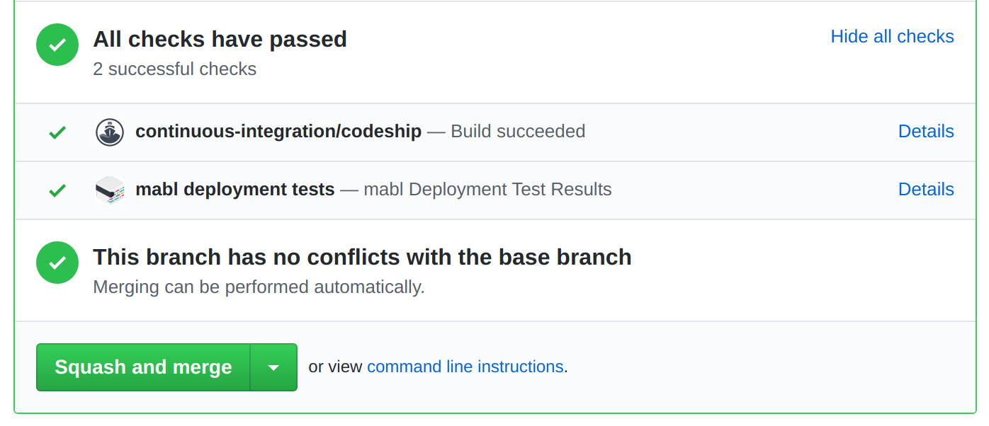 e.g. automatically get mabl checks in your GitHub Pull Requests