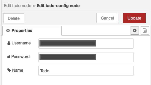 Specify your Tado credentials.