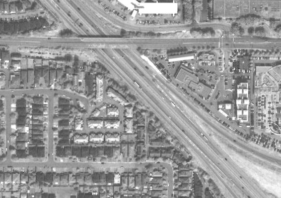 After: Output from ENVI Grayscale Morphological Filtering. Note the road lines.