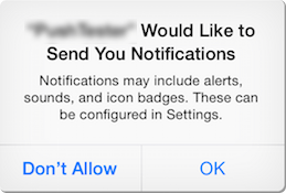 Permission prompt for native push notifications on iphone