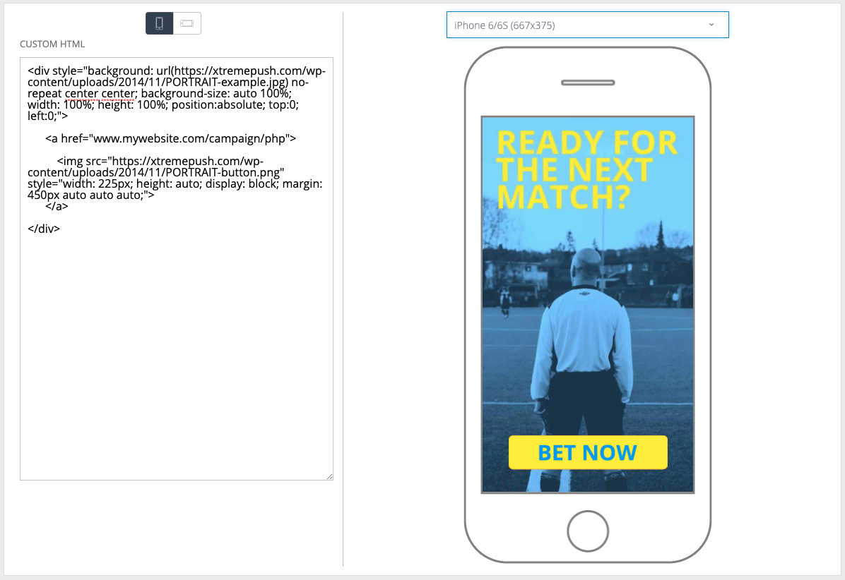 Example of in App message created using custom HTML.