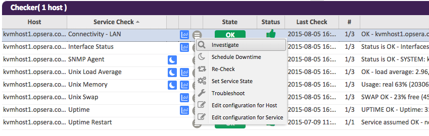 Contextual menu of a Service Check