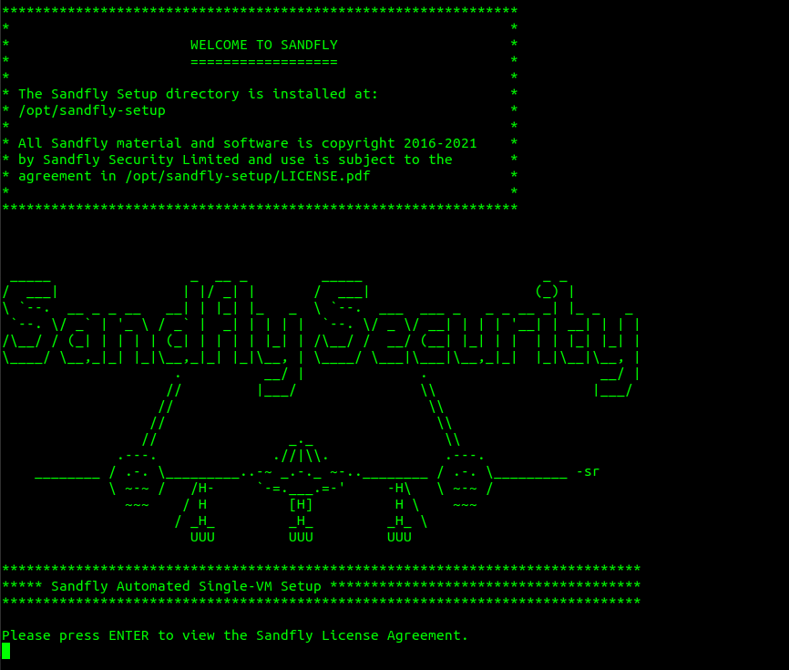 Welcome to Sandfly Install