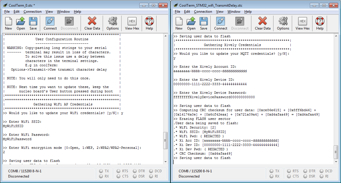 Setting the Wi-Fi (left) and Xively (right) Credentials for the STM32 board through serial terminal (coolTerm).