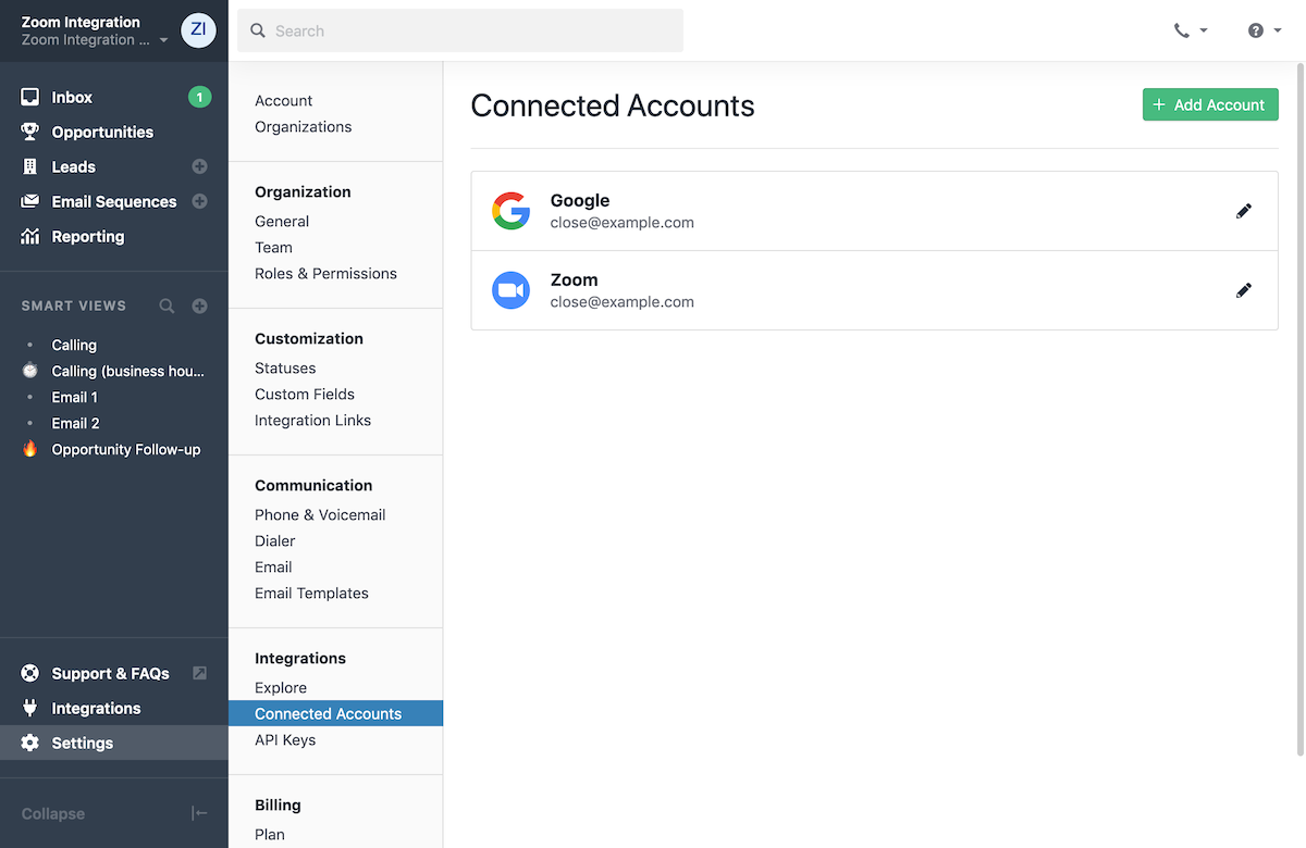 Zoom sync in Connected Accounts