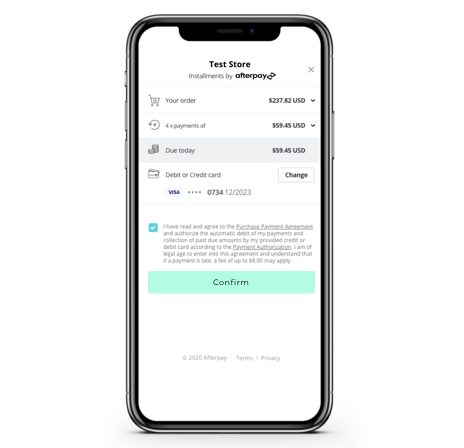 Afterpay Checkout Final Screen