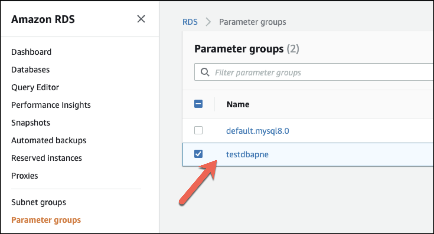 Select RDS Parameter Group