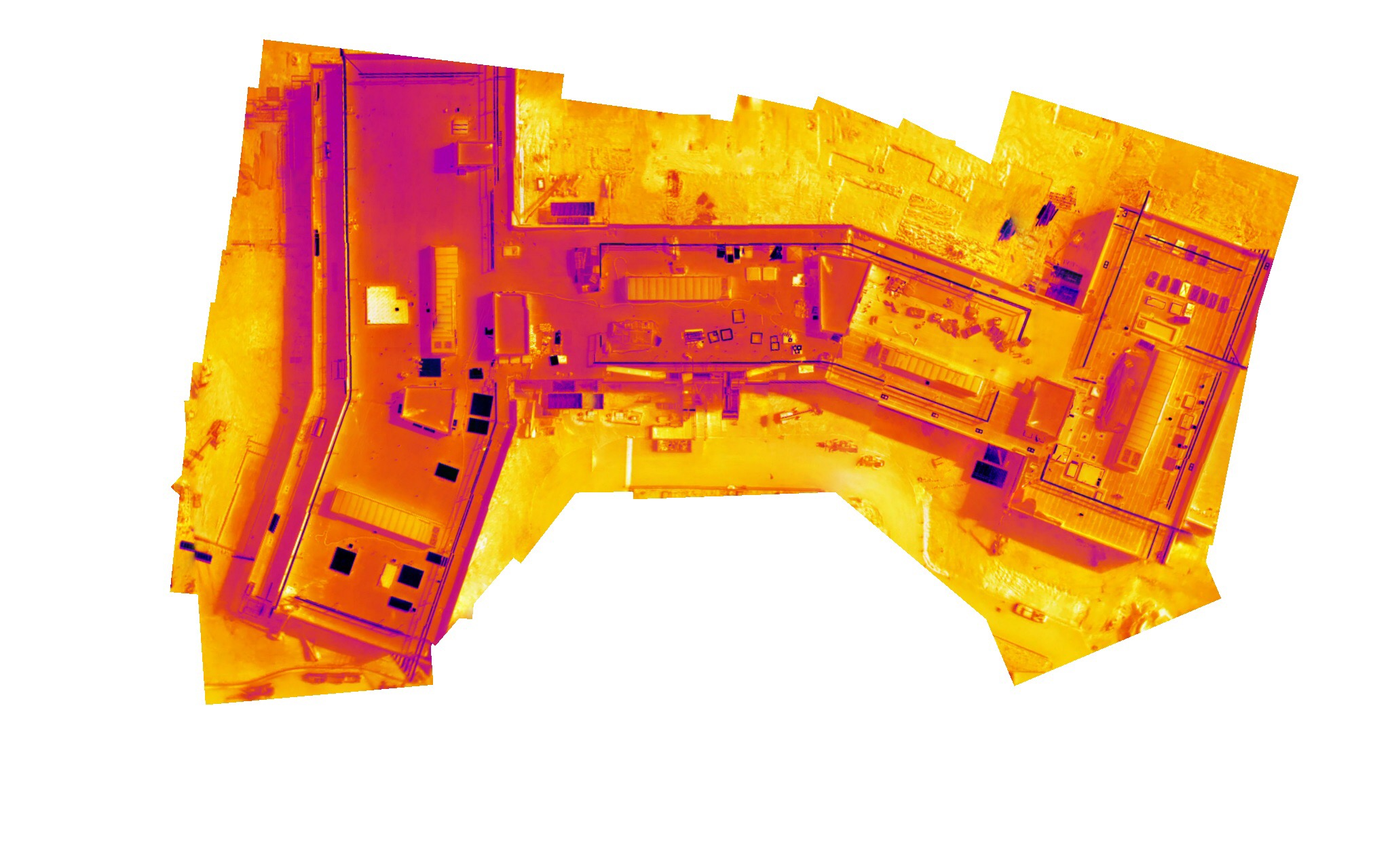 Here is an example of a Thermal Live Map of the roof of a hospital that is under construction.