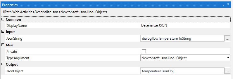DeserializeJSON activity settings for converting to a JSON Object