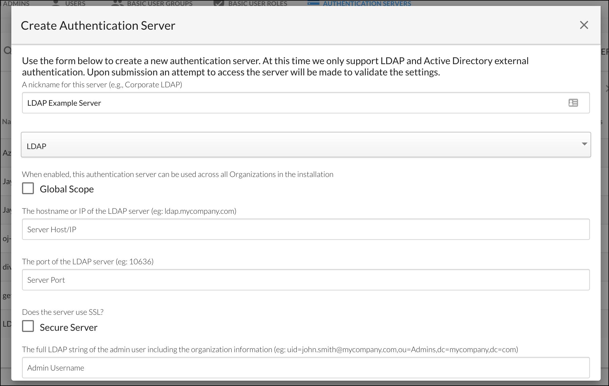 Create Authentication Server - LDAP Example