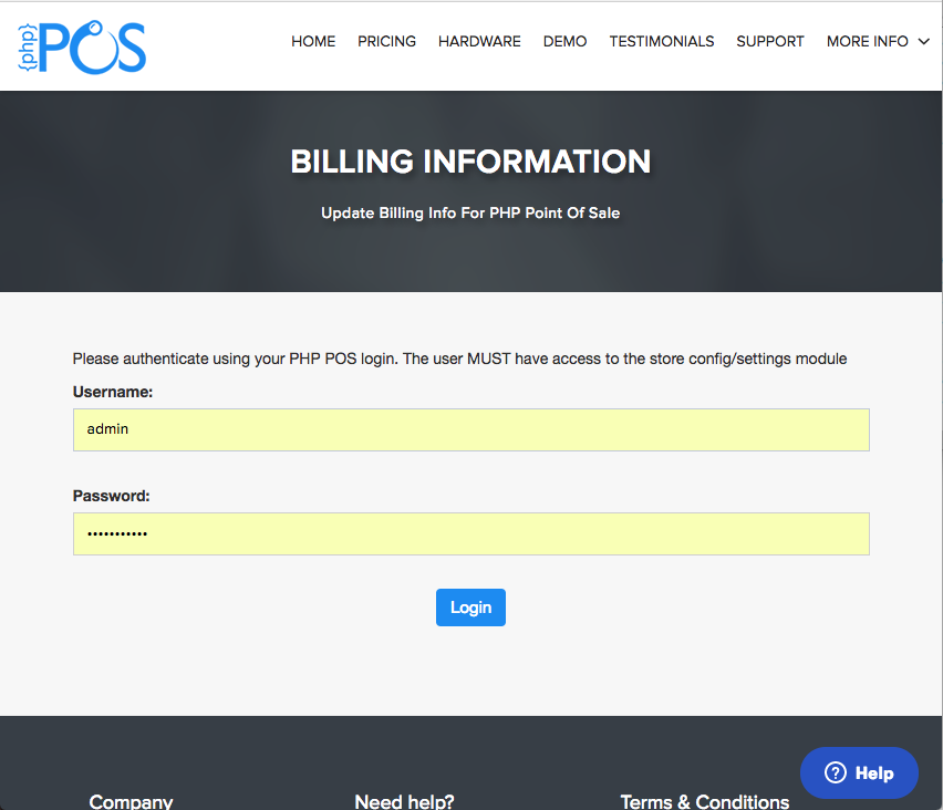 Must have Admin rights to update billing info