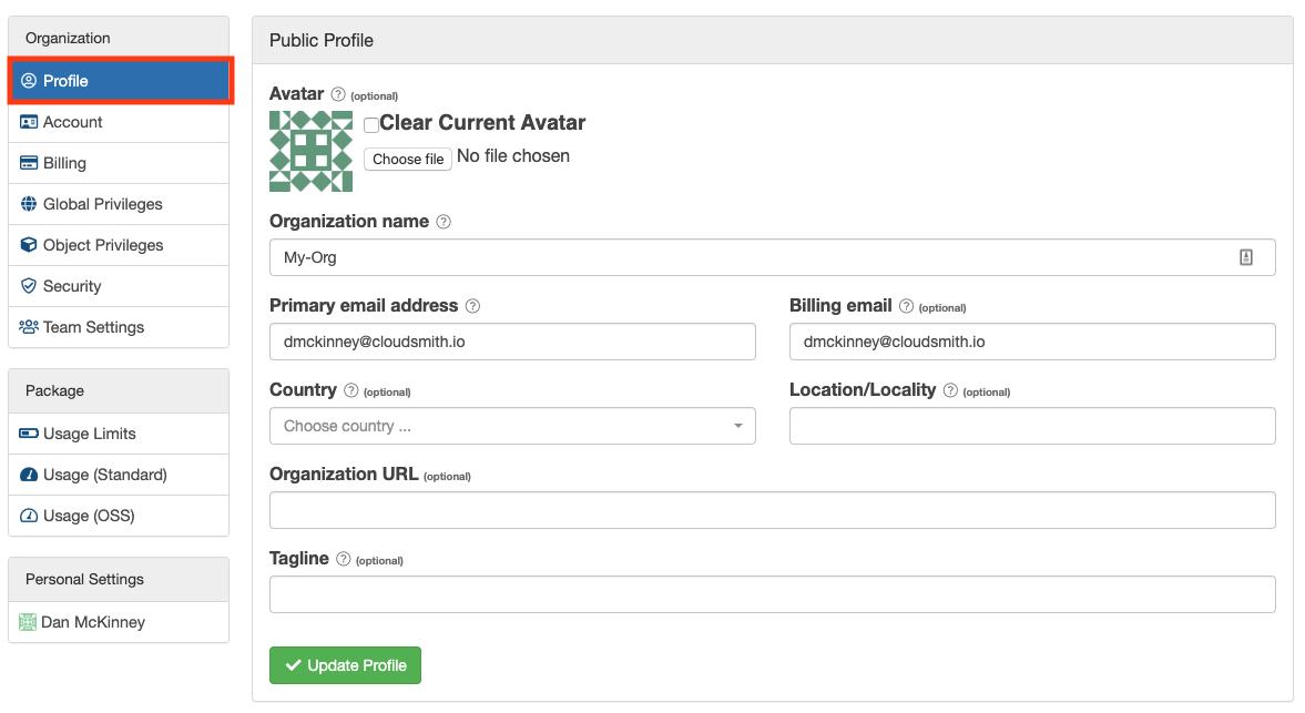 Organization Profile Settings