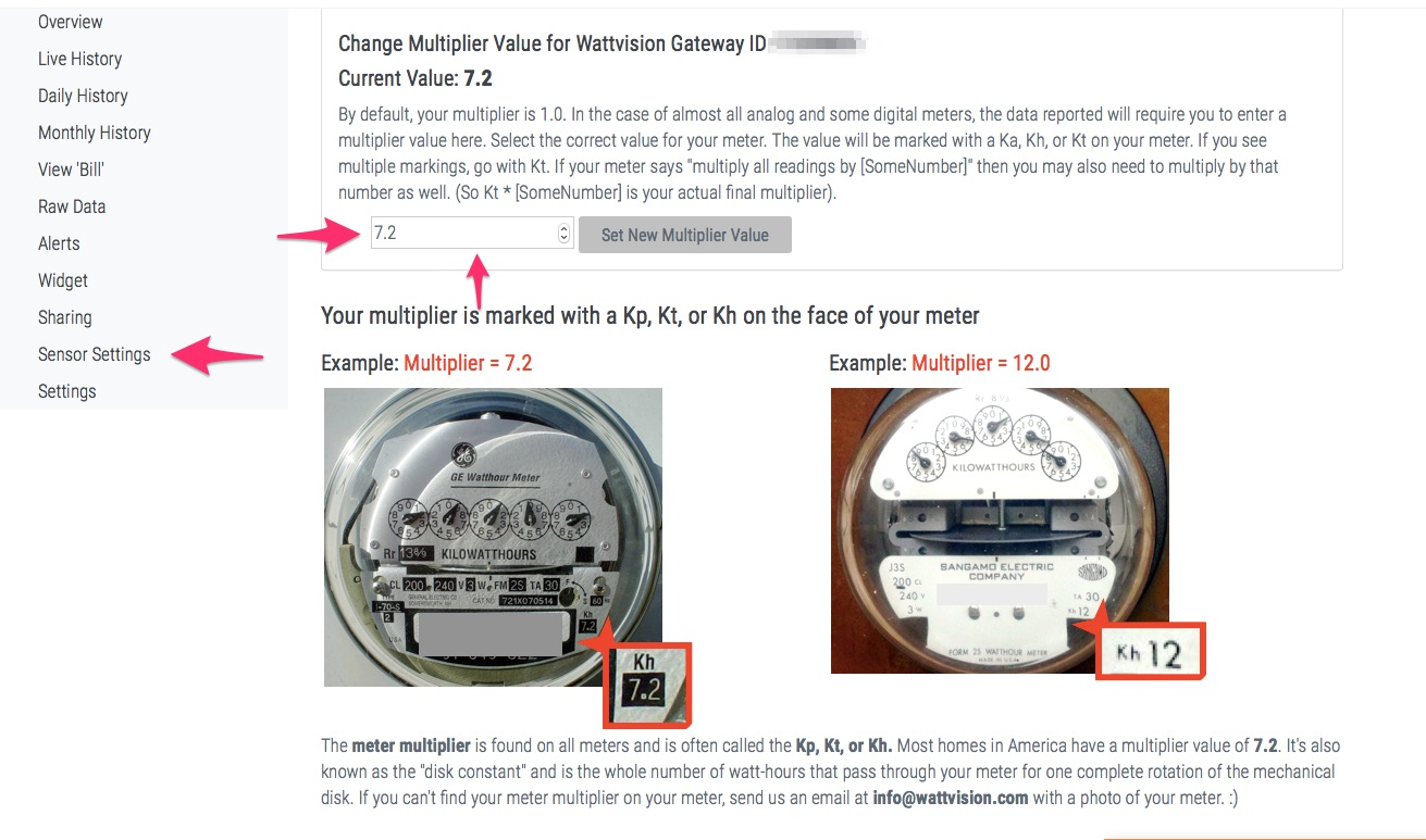 Under sensor settings, adjust your multiplier value. Multiplier value can be found on your energy meter