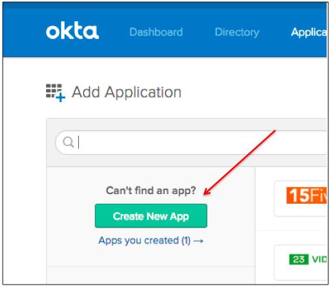 Okta Create New App Button
