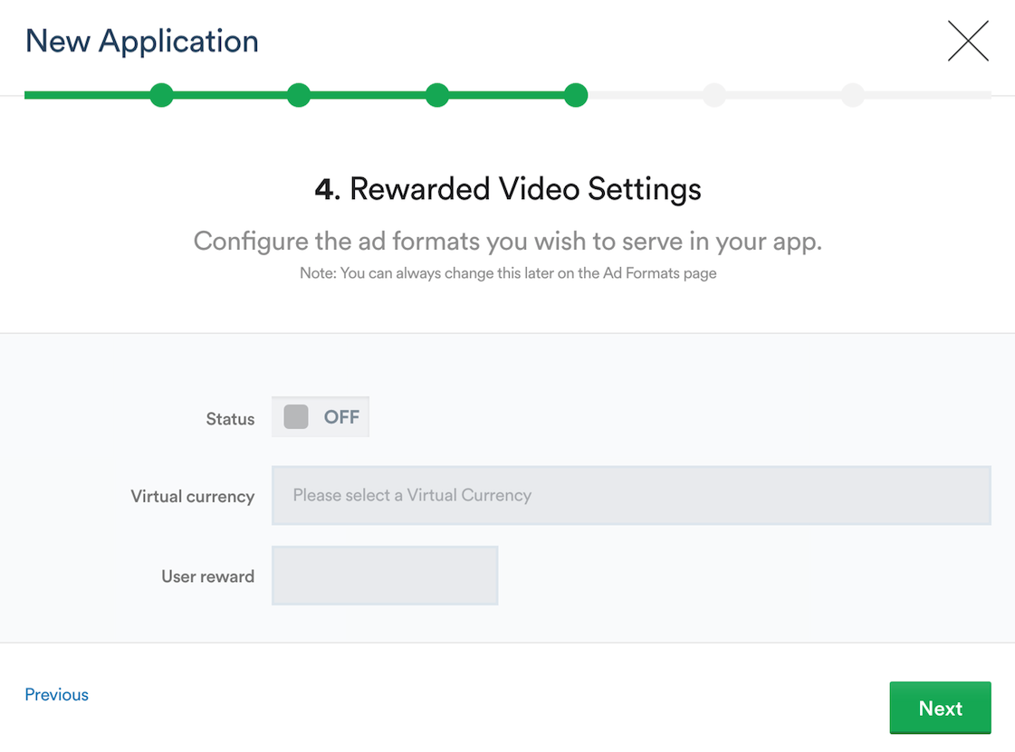 Setting up Rewarded Video Settings