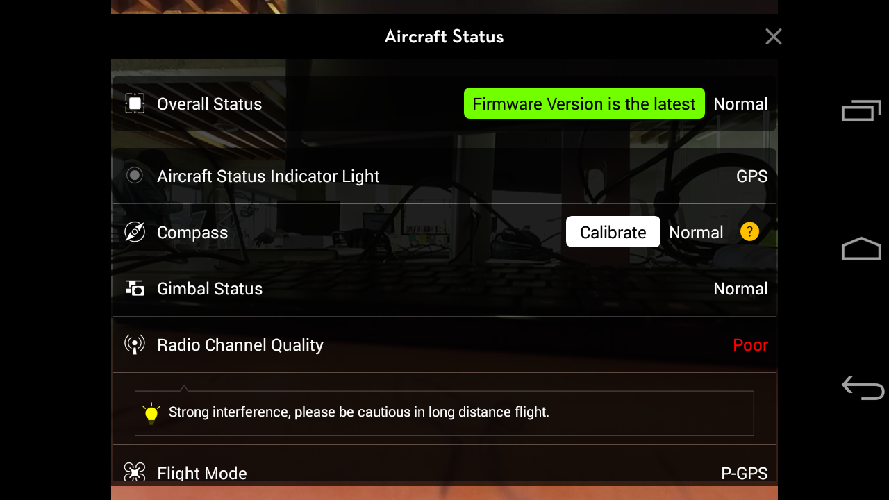 If you are plugged into your aircraft using the USB cord and on the correct version, you'll see the confirmation above (shown: DJI GO v.2.30)