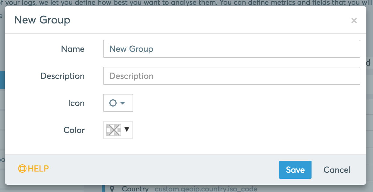 Creating a new Group pop up