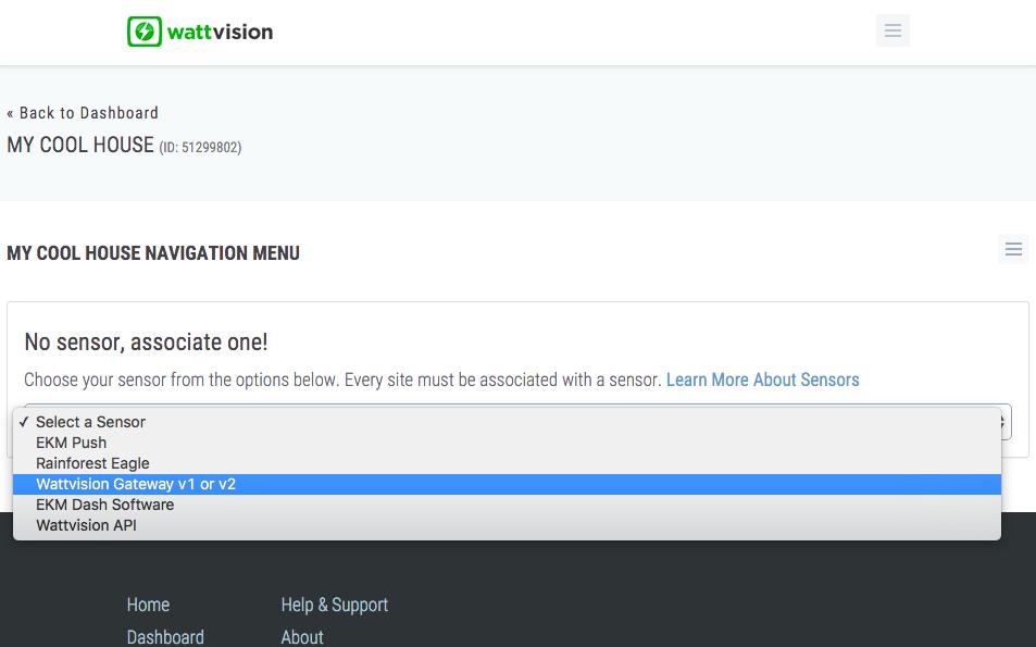 Choose a Wattvision Gateway 2 Sensor Type