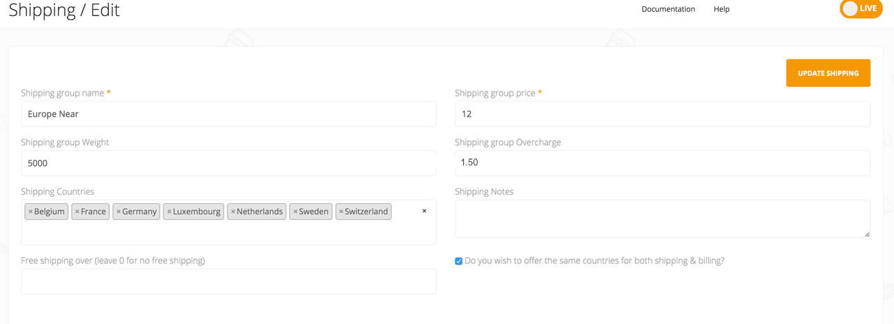 Here is an example of a possible shipping option in the Shoprocket dashboard.