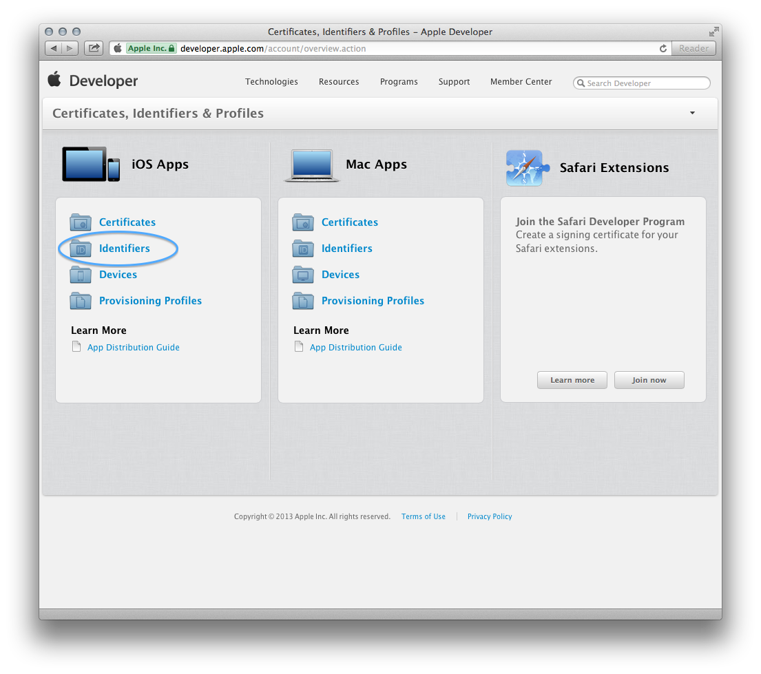 Figure 5. Welcome screen of the iOS Provisioning Portal