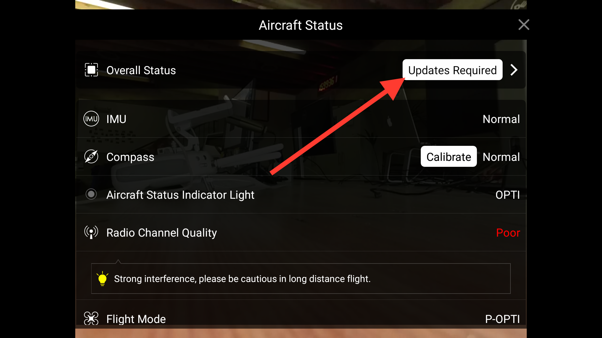 You can clearly see that this drone requires an update to continue flying.