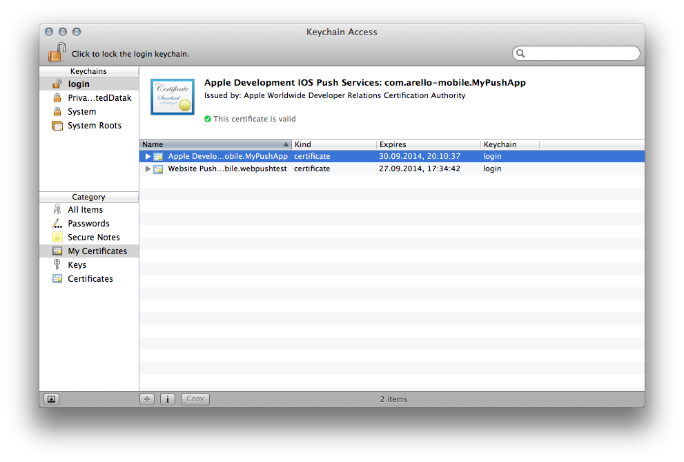 Figure 13. Installing the generated certificate into the Keychain Access application