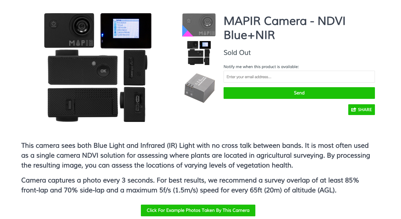 http://www.mapir.camera/products/mapir-camera-ndvi-blue-nir