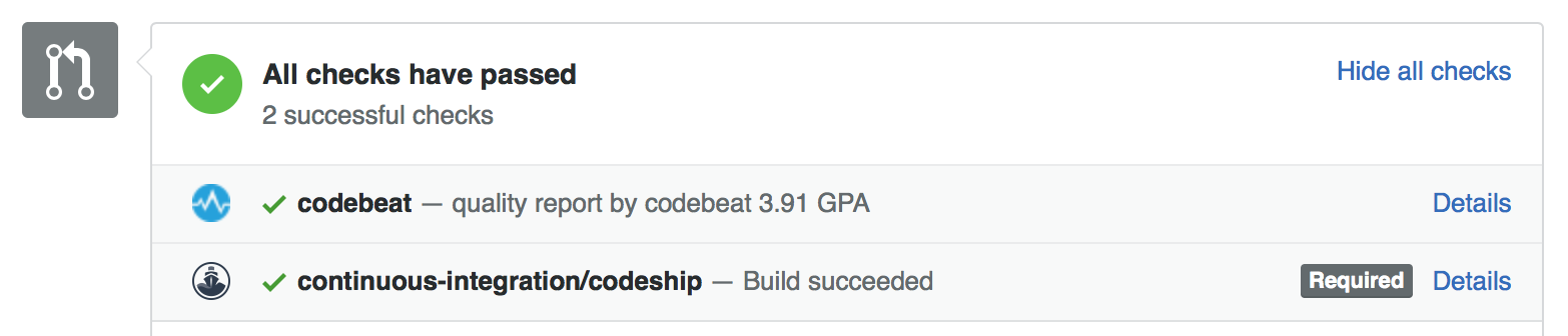 codebeat status check on a pull request page