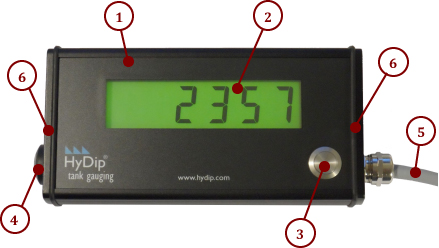 The HyDip LCD, showing 1) front plate, 2) display, 3) wake up button, 4) built in overfill buzzer, 5) weatherproof cable gland, 6) buzzer end plate, and cable gland end plate.