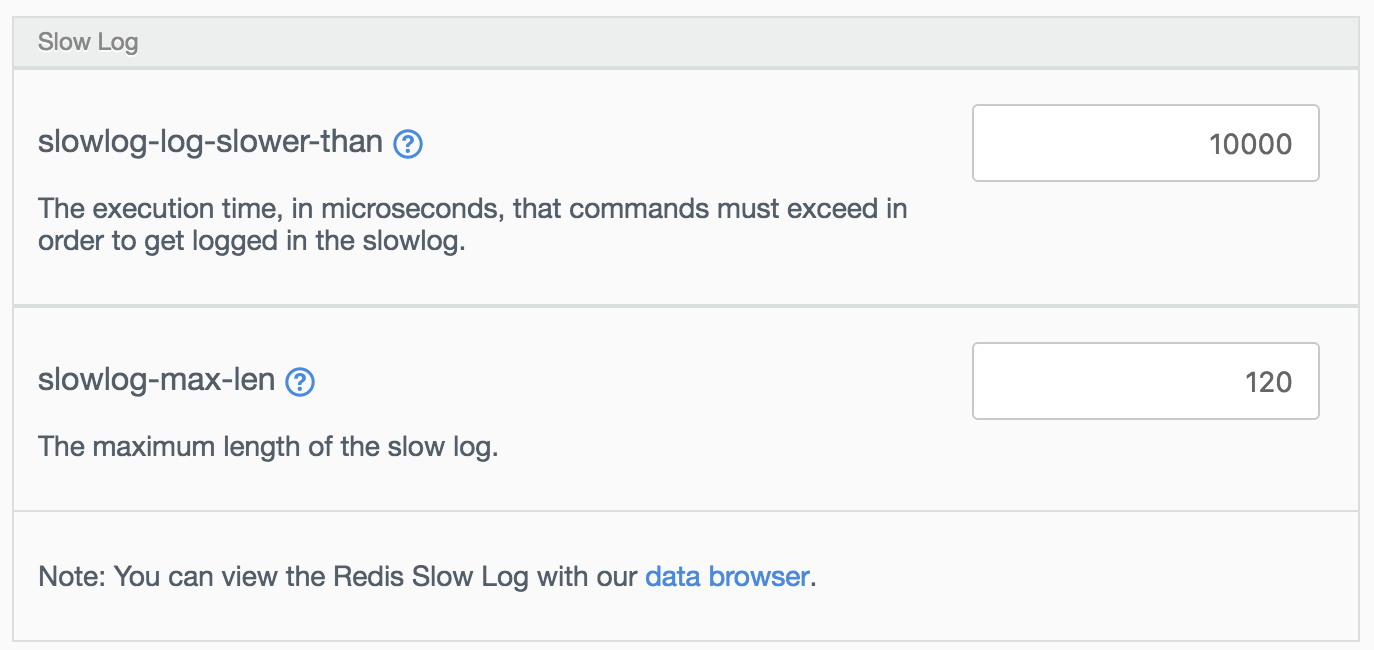 Changing the slowlog parameters.