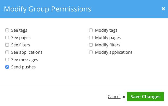 Figure 2. Modifying Group Permissions