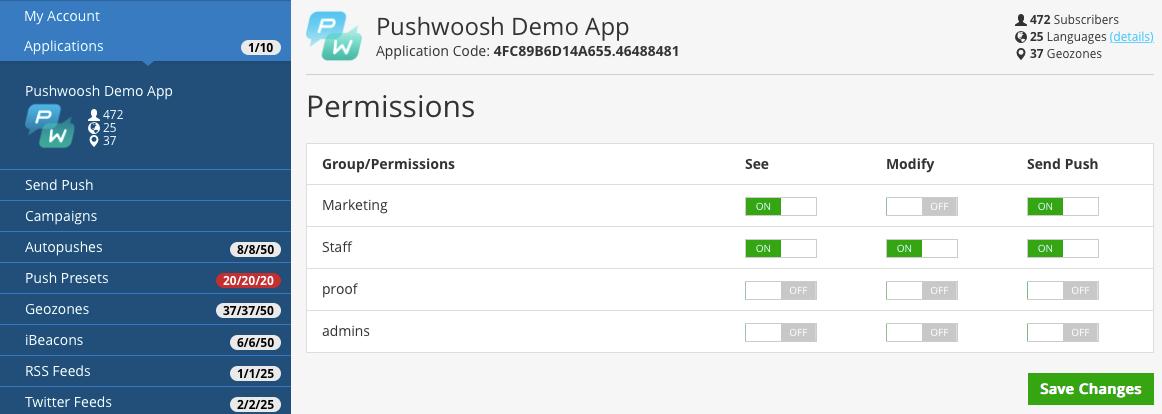 Figure 3. Modifying Application Permissions