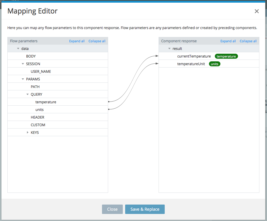 Mapping component editor.