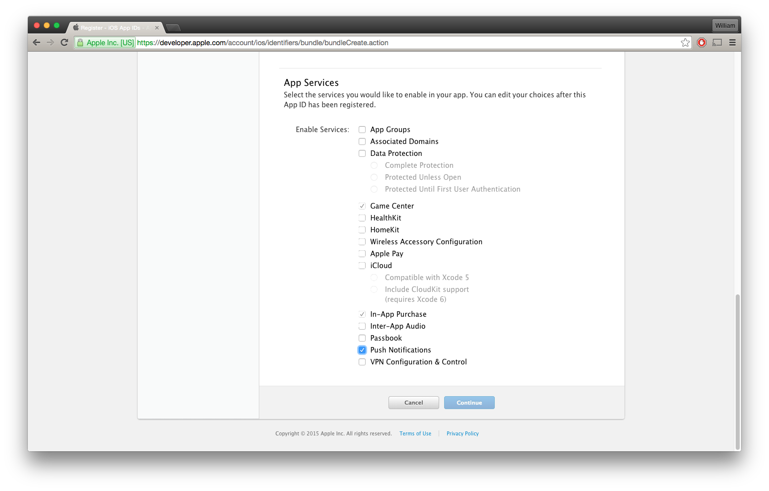 Choose A Name For Your New App Id And Make Sure To Select The Checkbox For  Push Notifications Under App Services