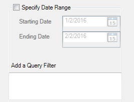 If a specific date range is required toggle Specify Date Range and select desired dates, or if a query is required add it to the Add a Query Filter.