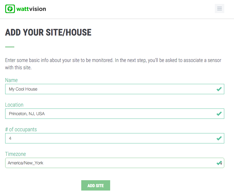 Enter some details about your monitoring site