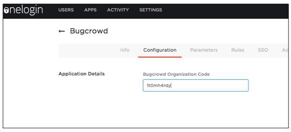 Onelogin configuration screen