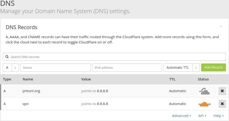 Protecting Pritunl with CloudFlare